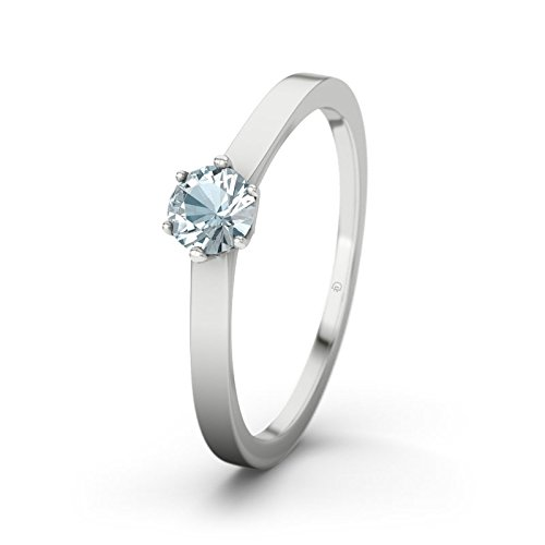 21DIAMONDS Women's Ring Pure Aquamarine Brilliant Cut Engagement Ring - Silver Engagement Ring