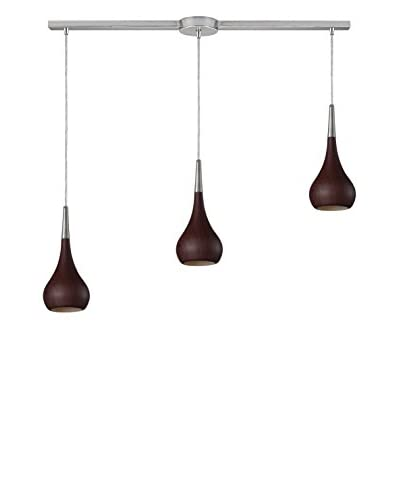Artistic Lighting Lindsey 3-Light Long Pendant, Dark Walnut/Satin Nickel