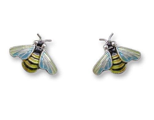 Bee Enameled Sterling Silver Post Earrings