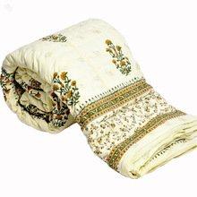 Little India Jaipuri Hand Block Print Cotton Double Bed Quilt - White (DLI3DRZ320)
