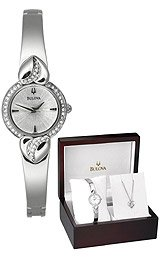 Bulova Crystal Hearts Bracelet Silver Dial Women's Watch #96X111