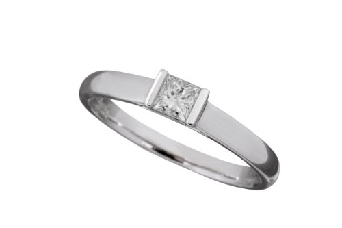 18ct White Gold Diamond Engagement Ring With Certified Princess Cut Diamond Solitaire, 1/4 Carat Diamond Weight