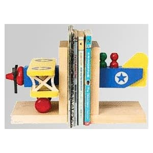 Biplane wooden bookends Maple Landmark Name Trains