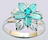 Silver ring with Austrian cut CZ crystals by GlitZ JewelZ - 3D floral special cut crystal design - hand set and hand polished to a high jewelry standard - lovely through and through