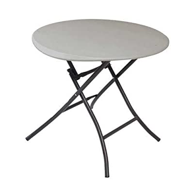 Lifetime 80230 33-Inch Round Folding Table, Putty Color Tabletop with Black Sand Frame