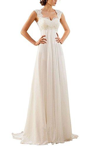 2016 White Chiffon Empire Waist Wedding Dress Pregnant Women Formal Dresses
