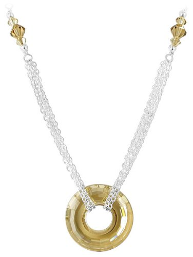 Sterling Silver 25mm Multifaceted Donut Golden Shadow Crystal Necklace 20 inch Made with Swarovski Elements
