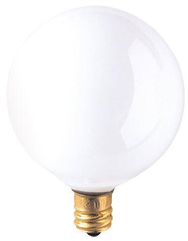 25 Pack 60 Watt Candelabra Base 120 Volt 2500 Hour White Globe Lightbulb