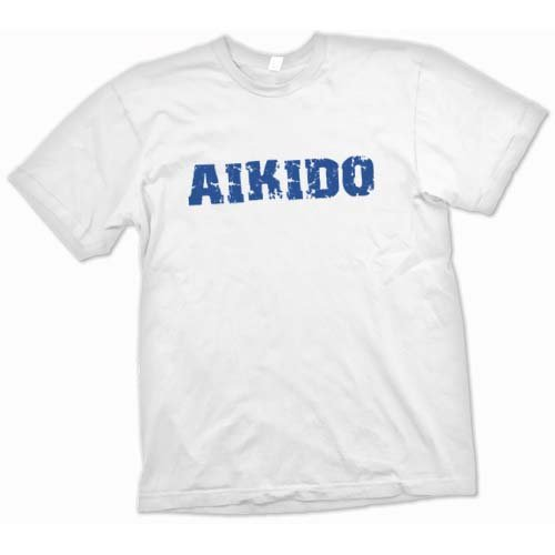 Aikido Martial Art Slogan T Shirt - White - Adult Mens 42-44