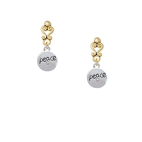 Peace With Ab Crystal And Dove Gold Tone Filigree Heart Earrings