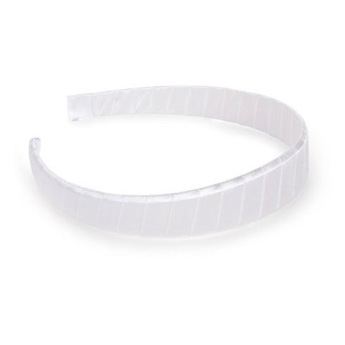WeGlow International White Ribbon Covered Headband (3 Headbands), 25mm