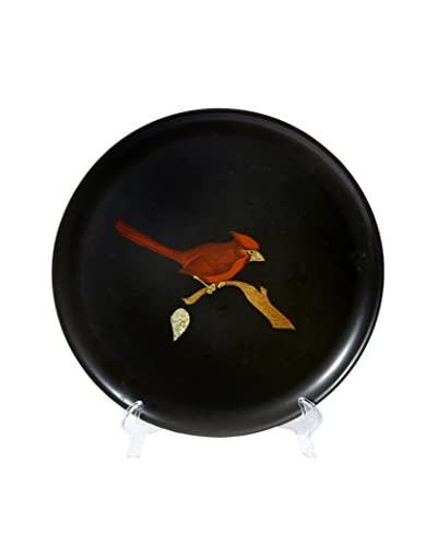 1960s Couroc Inlaid Round Red Cardinal Tray