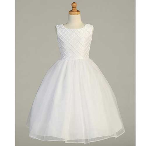 Lito White Shantung Tuck Pearl Accent First Communion Dress Girls 6-14