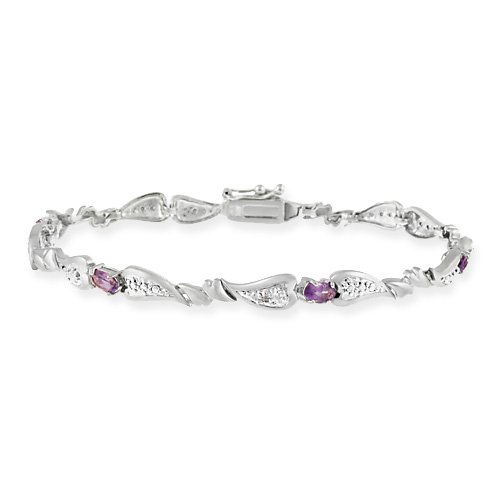 Sterling Silver Genuine Amethyst and Diamond Accent Heart Link ...