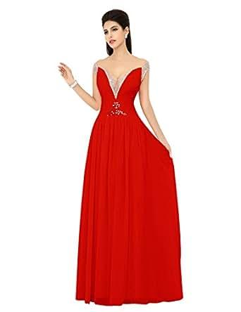 Amazon.com: Diyouth Beading Cap Sleeves V-Neck Prom ... - photo #26