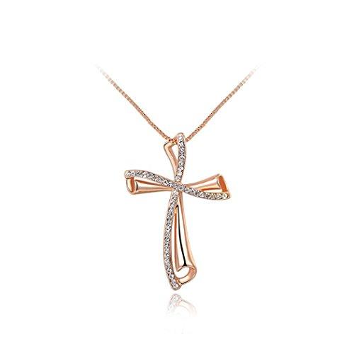 Yc, elegante, placcato in oro rosa 18 k con ciondolo a forma di croce con Zirconia cubica
