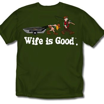 Wife Is Good Fishing Moss Adult T-Shirt