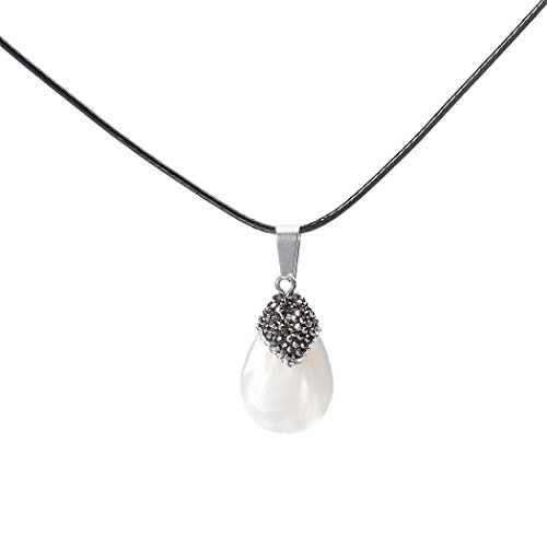 ART KIM White Pearl Shells Gemstone Pave Crystal Rhinestone Cap Drops Pendant Necklace