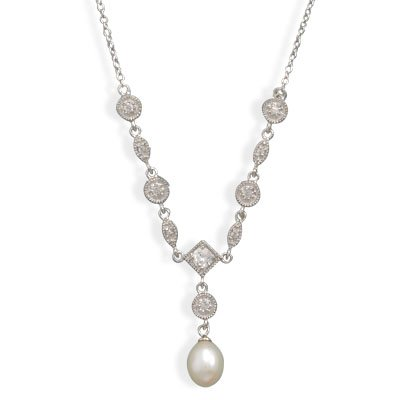16 Inch Rhodium Plated Cultured Freshwater Pearl & Marquise/Round CZ Necklace