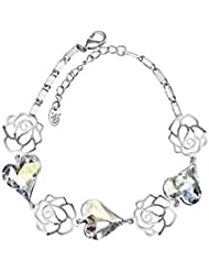 Wearyourfashion Clear Swarovski Elements Platinum Plated Hearts And Flowers Charm Bracelet For Women