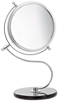 Best Cheap Deal for Jerdon JP826SBC 6-Inch Tabletop Two-Sided Swivel Vanity Mirror with 8x Magnification and Black Glass Base, 11-Inch Height, Chrome Finish by Jerdon - Free 2 Day Shipping Available