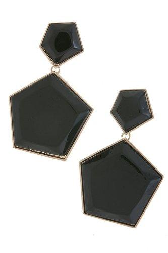 Trendy Fashion Jewelry Acrylic Pentagon Earrings By Fashion Destination   (Black)