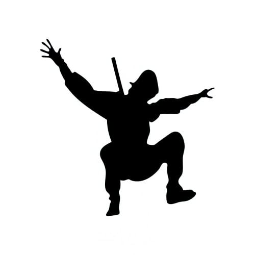 "Action Ninja Silhouette - 7 - 48""H x 34""W - Peel and Stick Wall Decal"