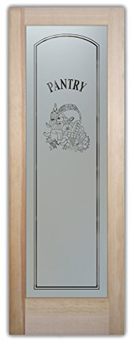 Pantry Door - Sans Soucie Etched Glass Interior Door, Doug Fir, Vino Design 24 in. x 80 in. Book/Slab Door 1-3/8 in. (Interior Glass Slab Door compare prices)