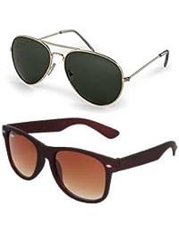 Sheomy Mirrored Sunglasses Golden Green Classic Aviator, Brown Wayfare Combo Pack Sunglasses (For Boys) - Golden-Green-Brown-Wayfarer