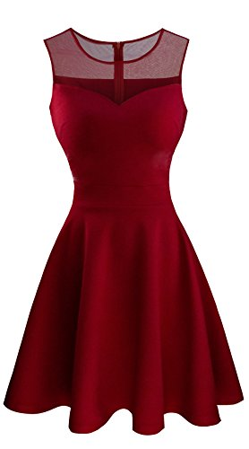 Heloise Women's A-Line Sleeveless Pleated Little Dark Red Cocktail Party Dress (L, Dark Red)