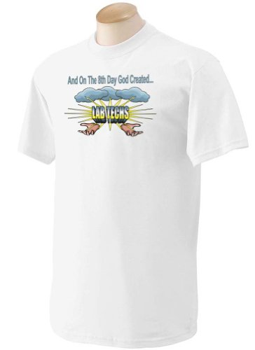 And On The 8Th Day God Created Lab Techs Adult Short Sleeve T-Shirt White Large
