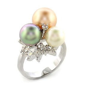 Isady - Ainoha - Ladies Ring - simulated pearls Multi coloured - White Gold plated Rhodium Bonded - Cubic Zirconia