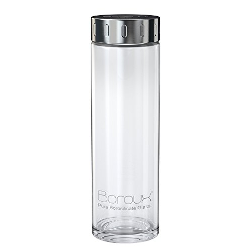 Boroux Original .5 liters pure Borosilicate glass water bottle - The reusable BPA free alternative to plastic bottles. Great for essential oils, juicing, camping, the office, and everyday use. (Wide Mouth Glass Water Bottle compare prices)