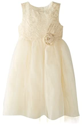 Marmellata Little Girls' Party Dress with Lace Bodice, Ivory, 4