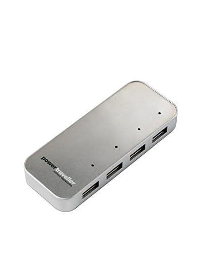 Power Traveller Cargador USB 4-Puertos Usb Spidermonkey Gris