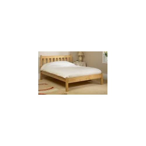 Double pine bed 4ft small double bed frame- Solid Pine. Complete with solid base slats and centre rail - Chunky...