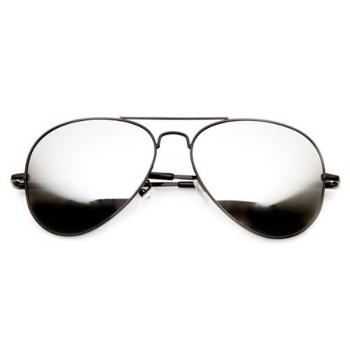 Framework – Reflective Full Mirror Mirrored Metal Aviator Sunglasses, Black