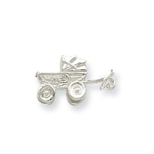 Sterling Silver Baby Carriage Polished Charm front-181451