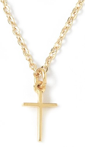 22k Yellow Gold Plated Small Pewter Cross Pendant by Bob Siemon, 18""