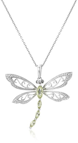 """Sterling Silver Peridot and Diamond Dragonfly Pendant Necklace (0.01 cttw, I-J Color, I2-I3 Clarity), 18"""""""