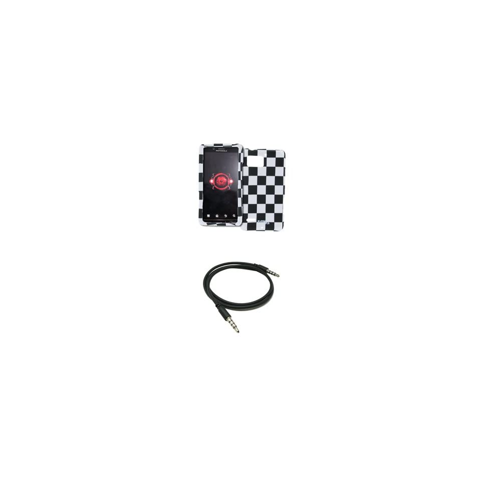 EMPIRE Black and White Checkers Design Hard Case Cover + 3.5mm Male to Male 20 36 Stereo Auxiliary Cable for Verizon Motorola DROID Bionic XT875
