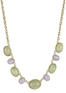 1928 Jewelry Oval Green and Blue Stone Necklace