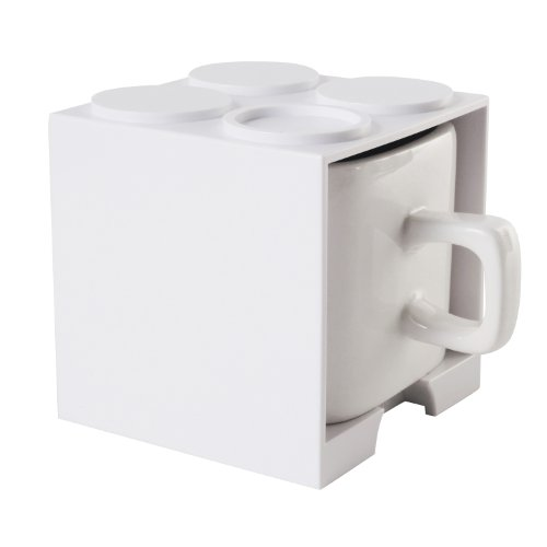 Cube Mug (White), Stackable Coffee Mug, Ceramic Mug With Plastic Cube