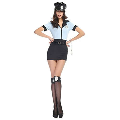 Quesera Women's Sexy Police Costume Dirty Cop Dress Halloween Adult Costume