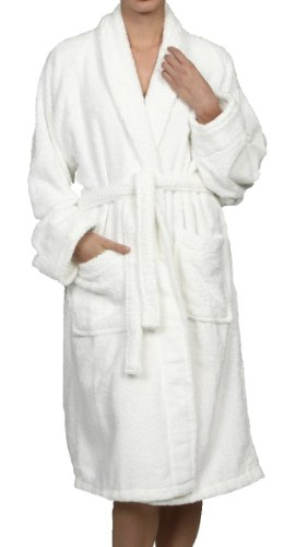 Superior Unisex Egyptian Terry Cotton Large Bath Robe, White front-767200