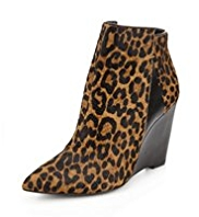 Autograph Ponyskin Pointed Toe Wedge Boots with Insolia®