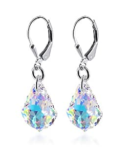 scer035 Clear AB Crystal .925 Silver Dangle Earrings with Swarovski Elements®