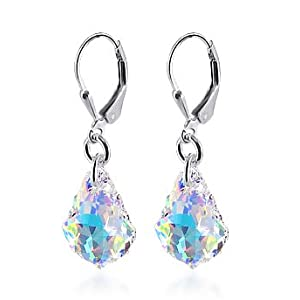 "SCER035 Sensational Clear AB Genuine Crystals Sterling Silver Leverback 1.25"" Long Dangle Earrings MADE WITH SWAROVSKI ELEMENTS"