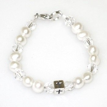 Baptism Bracelet - Pearls and Cross Bead