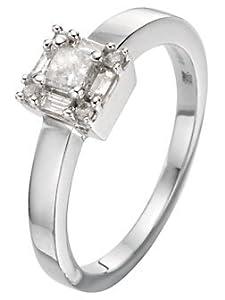 Contemporary Platinum 950 Ladies Solitaire Engagement Diamond Ring Baguette Cut 0.25 Carat F-SI2 Size J